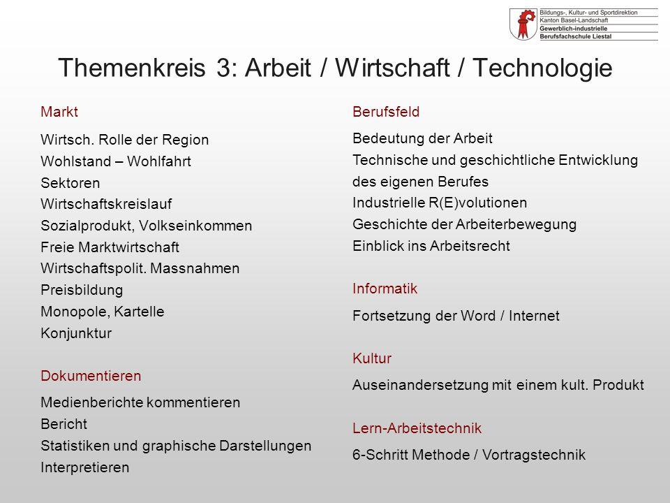 Themenkreis 3: Arbeit / Wirtschaft / Technologie