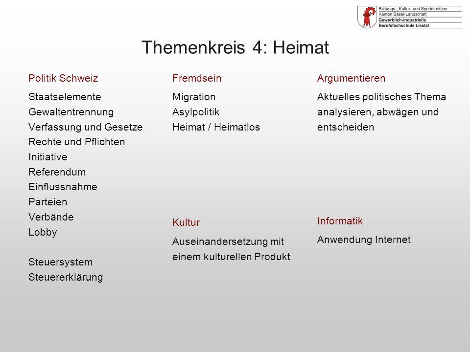 Themenkreis 4: Heimat Politik Schweiz Staatselemente Gewaltentrennung
