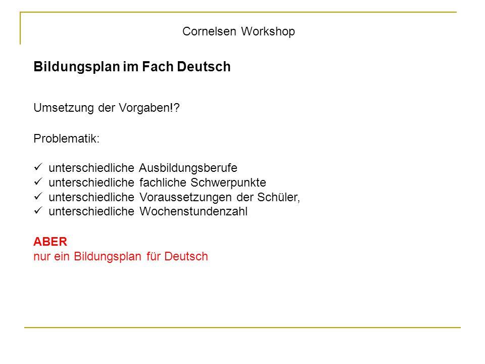 Bildungsplan im Fach Deutsch