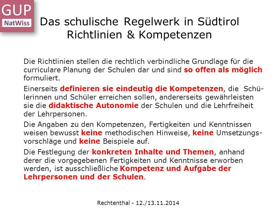 Das schulische Regelwerk in Südtirol Richtlinien & Kompetenzen