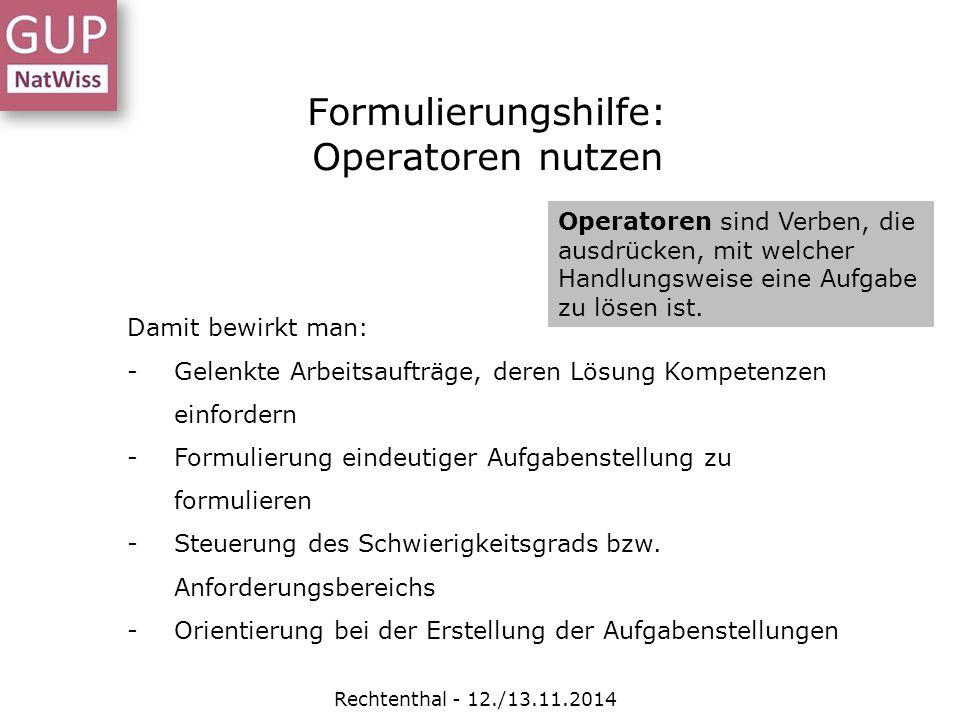 Formulierungshilfe: Operatoren nutzen