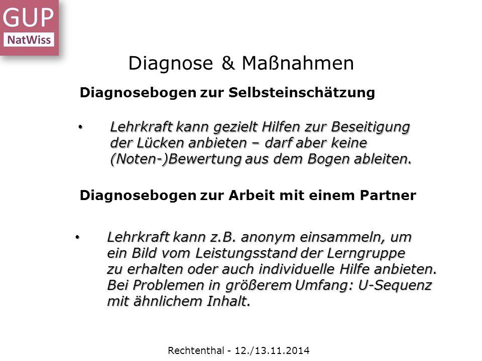 Diagnose & Maßnahmen Diagnosebogen zur Selbsteinschätzung
