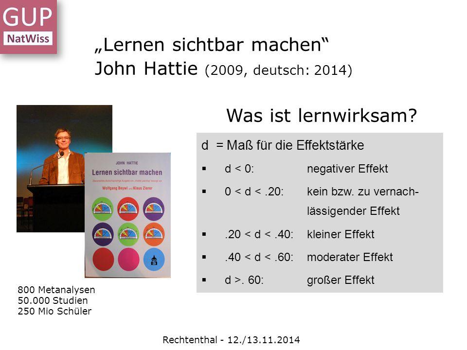 """""""Lernen sichtbar machen John Hattie (2009, deutsch: 2014)"""