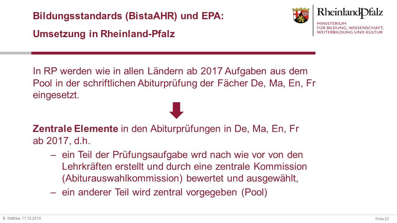 Bildungsstandards (BistaAHR) und EPA: