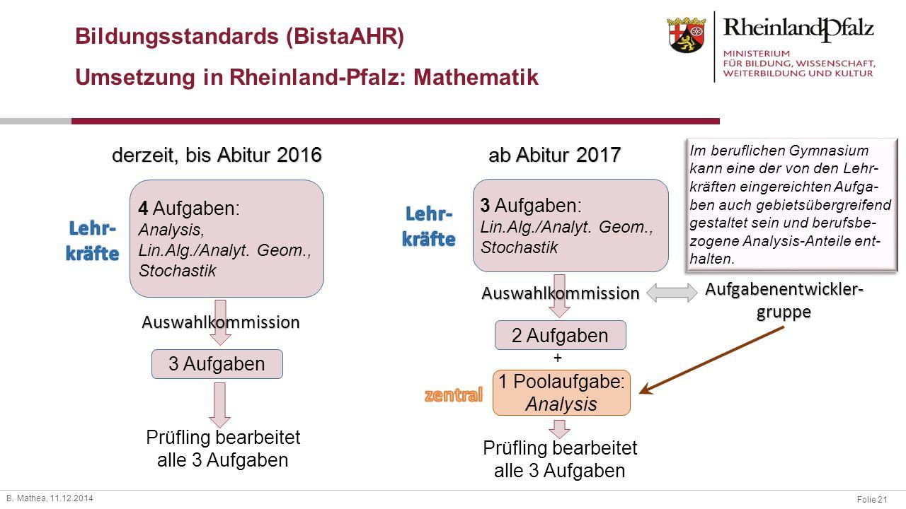 Bildungsstandards (BistaAHR) Umsetzung in Rheinland-Pfalz: Mathematik