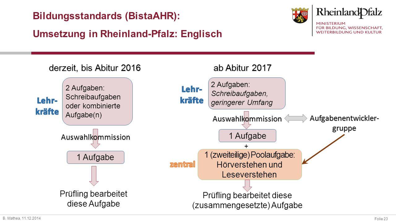 Bildungsstandards (BistaAHR): Umsetzung in Rheinland-Pfalz: Englisch