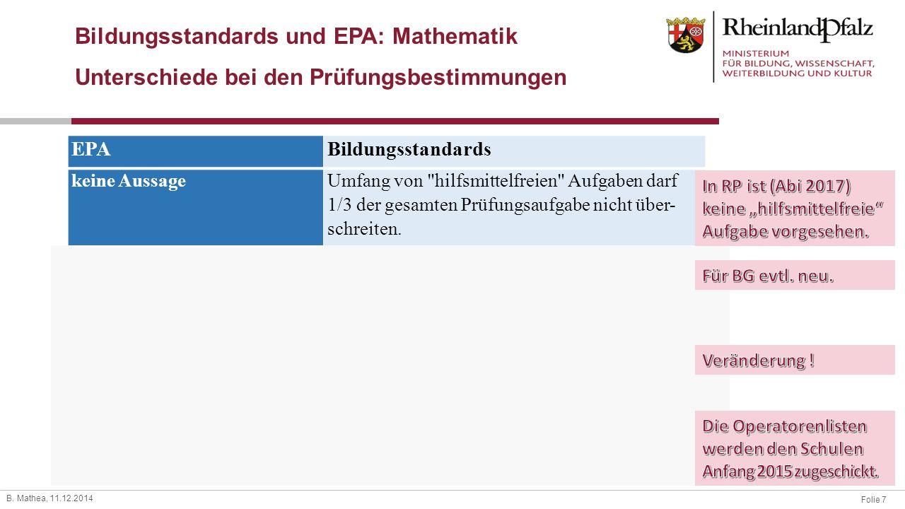Bildungsstandards und EPA: Mathematik