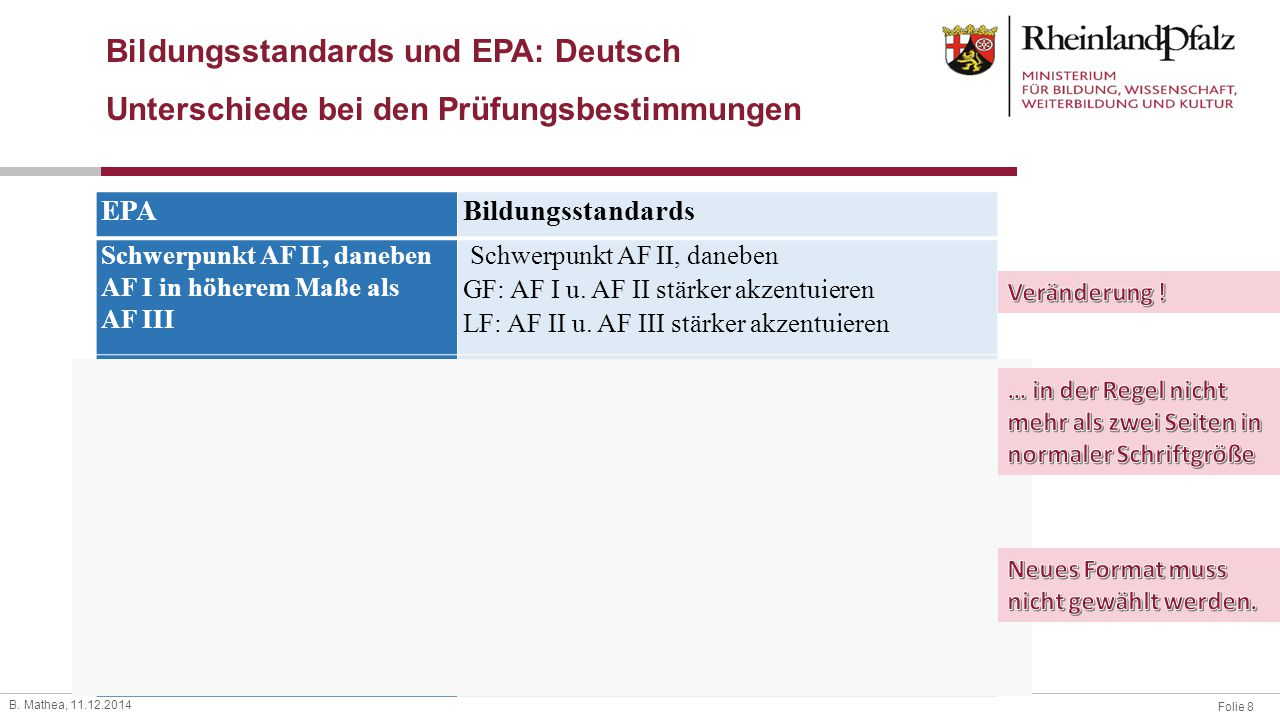 Bildungsstandards und EPA: Deutsch