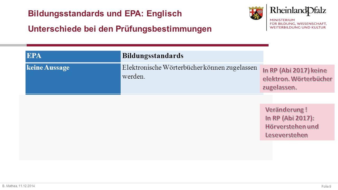 Bildungsstandards und EPA: Englisch