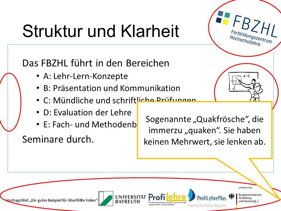 Struktur und Klarheit Das FBZHL führt in den Bereichen Seminare durch.