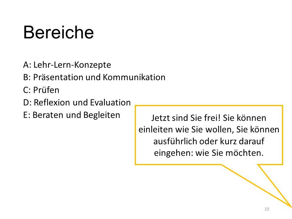 Bereiche A: Lehr-Lern-Konzepte B: Präsentation und Kommunikation C: Prüfen D: Reflexion und Evaluation E: Beraten und Begleiten