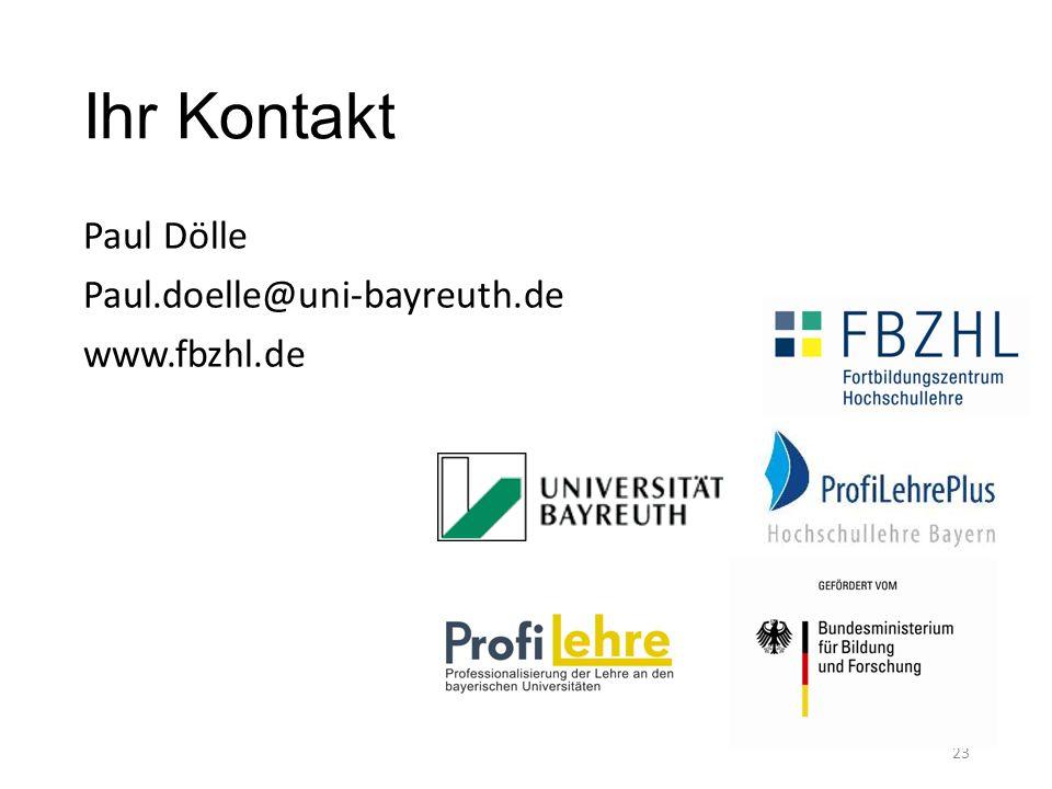 Ihr Kontakt Paul Dölle Paul.doelle@uni-bayreuth.de www.fbzhl.de