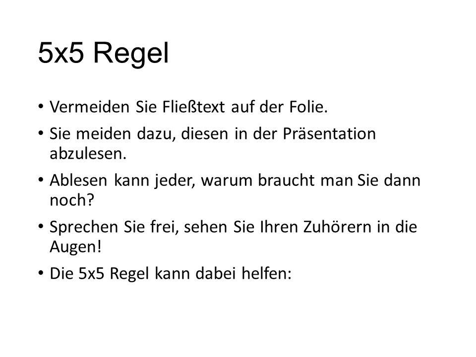 5x5 Regel Vermeiden Sie Fließtext auf der Folie.
