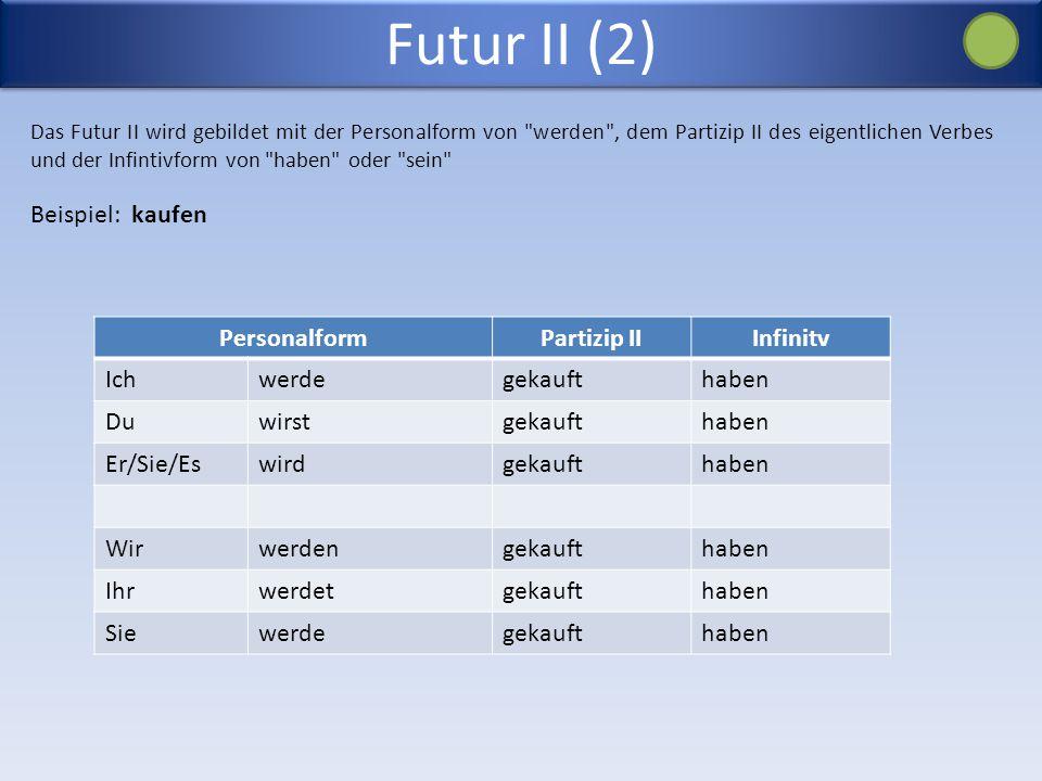 Futur II (2) Beispiel: kaufen Personalform Partizip II Infinitv Ich