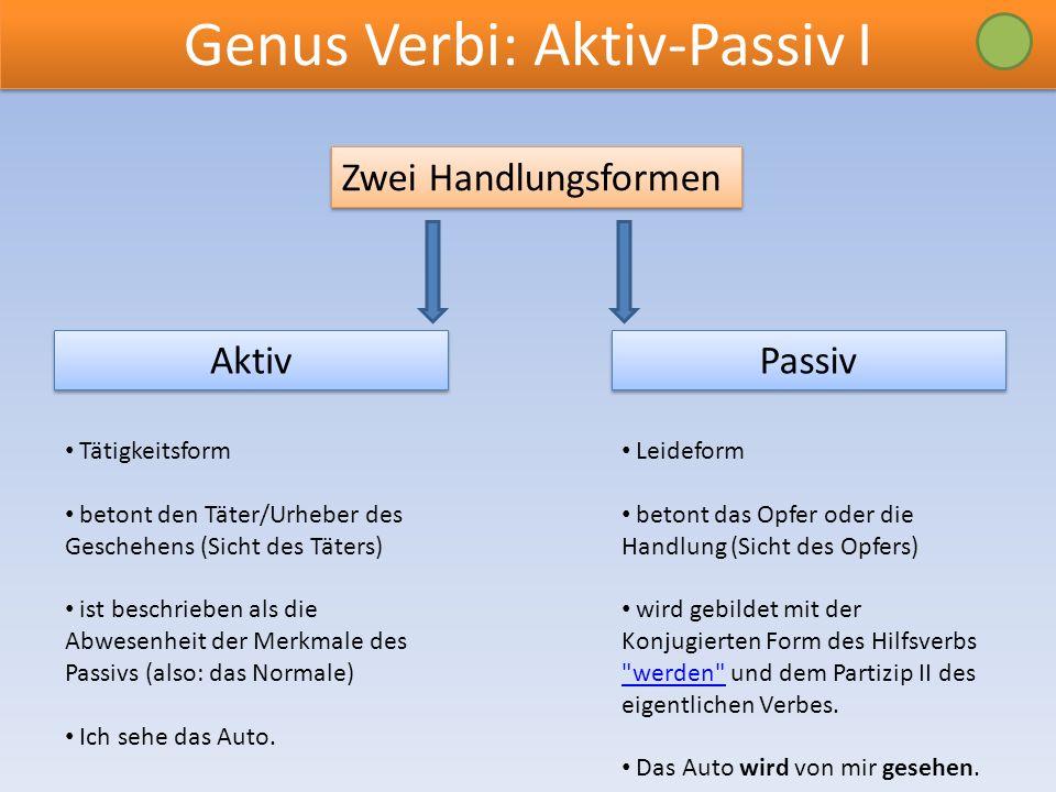 Genus Verbi: Aktiv-Passiv I
