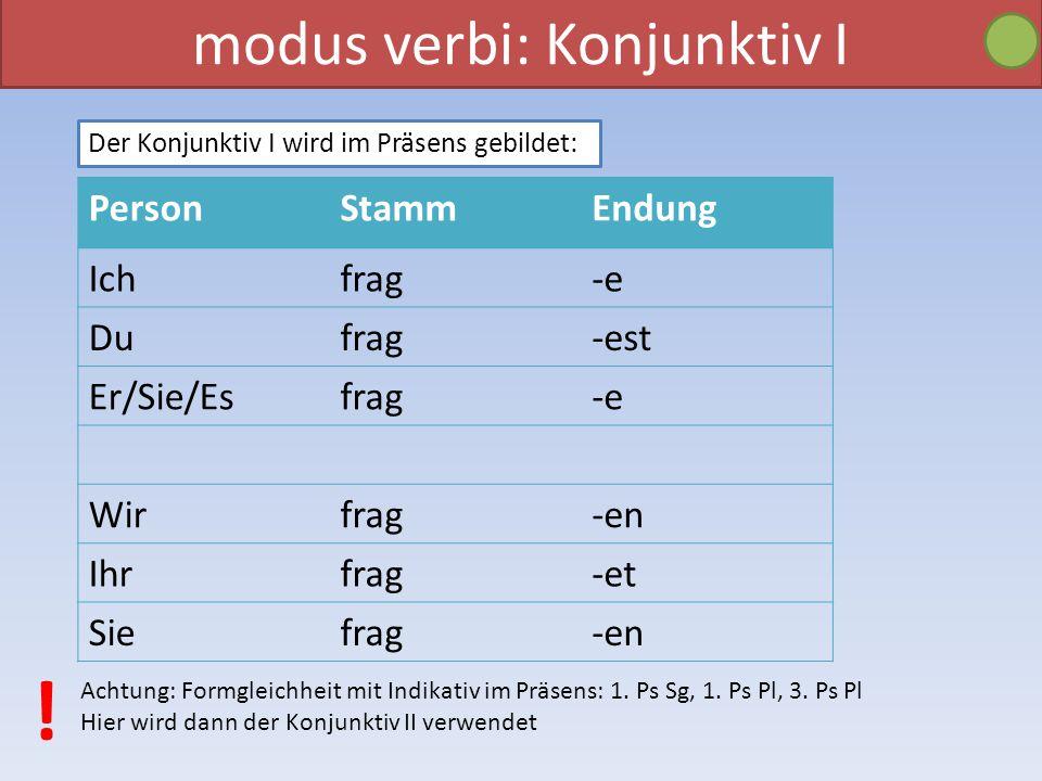 modus verbi: Konjunktiv I