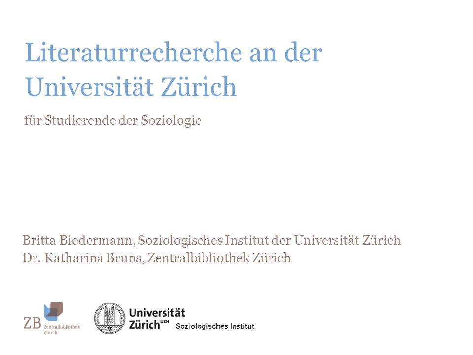 Literaturrecherche an der Universität Zürich