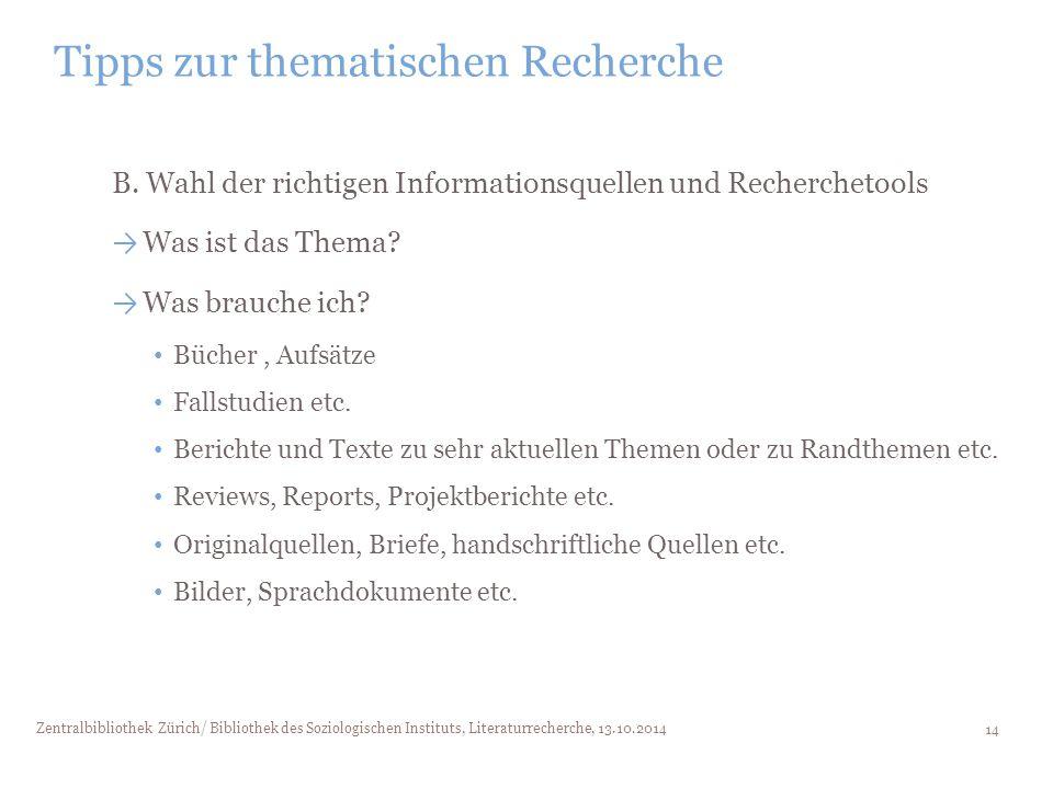 Tipps zur thematischen Recherche