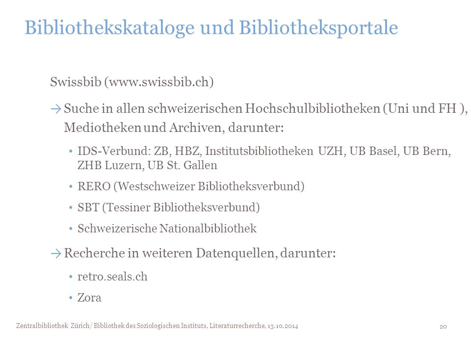 Bibliothekskataloge und Bibliotheksportale