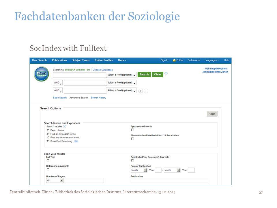 Fachdatenbanken der Soziologie