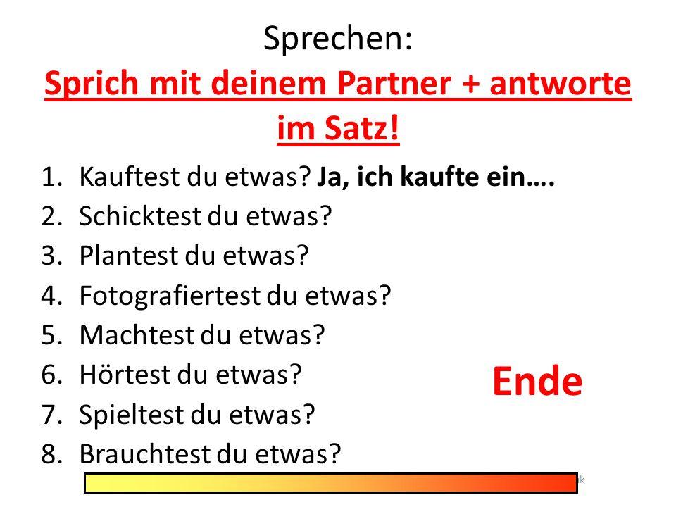 Sprechen: Sprich mit deinem Partner + antworte im Satz!