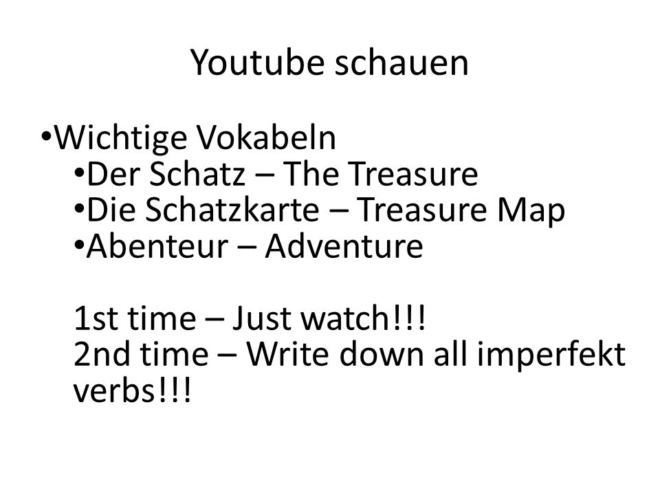 Youtube schauen Wichtige Vokabeln Der Schatz – The Treasure