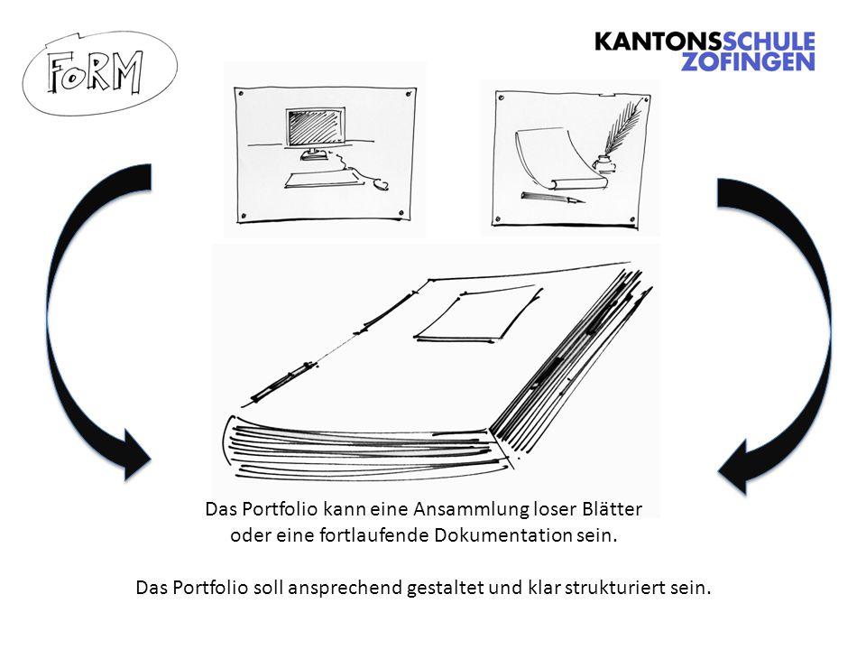 Das Portfolio soll ansprechend gestaltet und klar strukturiert sein.
