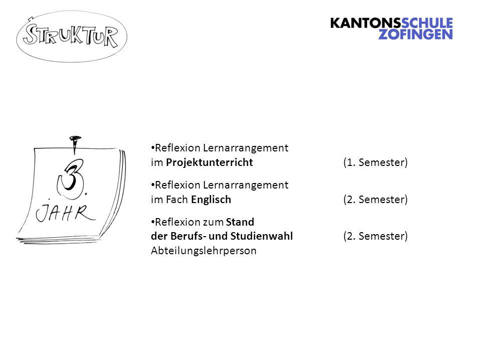 Reflexion Lernarrangement im Projektunterricht (1. Semester)