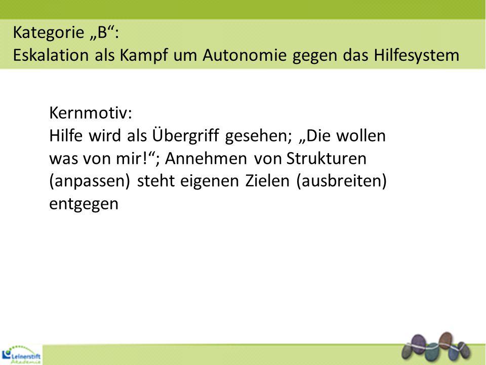 """Kategorie """"B : Eskalation als Kampf um Autonomie gegen das Hilfesystem. Kernmotiv:"""