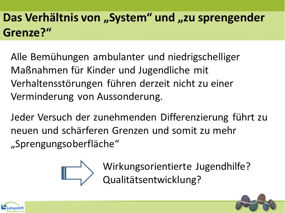"""Das Verhältnis von """"System und """"zu sprengender Grenze"""