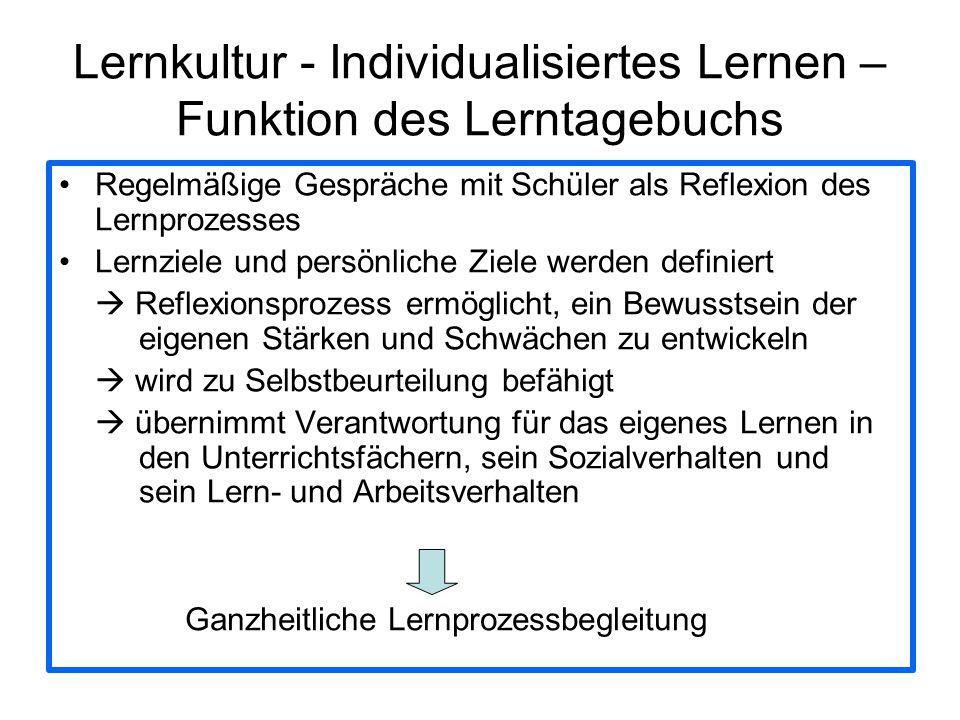 Lernkultur - Individualisiertes Lernen – Funktion des Lerntagebuchs