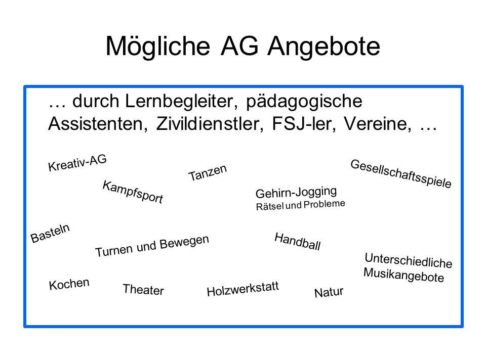 Mögliche AG Angebote … durch Lernbegleiter, pädagogische Assistenten, Zivildienstler, FSJ-ler, Vereine, …