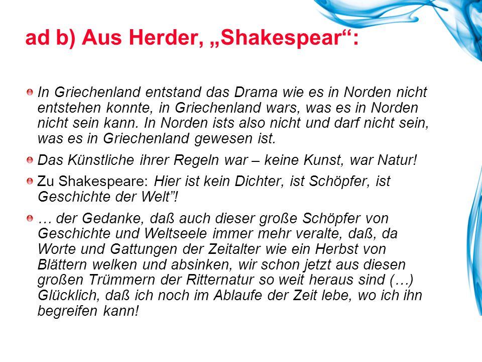 """ad b) Aus Herder, """"Shakespear :"""