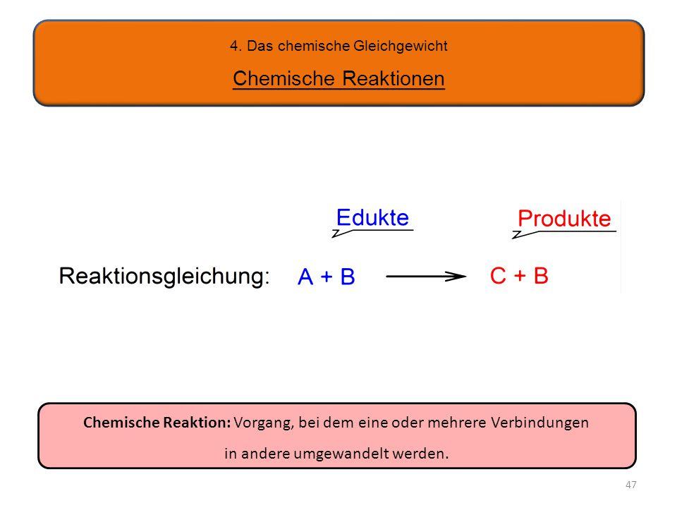 4. Das chemische Gleichgewicht Chemische Reaktionen