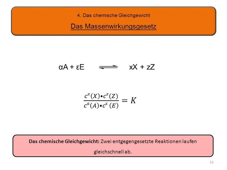 4. Das chemische Gleichgewicht Das Massenwirkungsgesetz