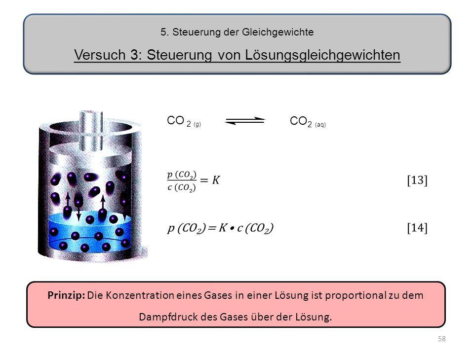 Dampfdruck des Gases über der Lösung.