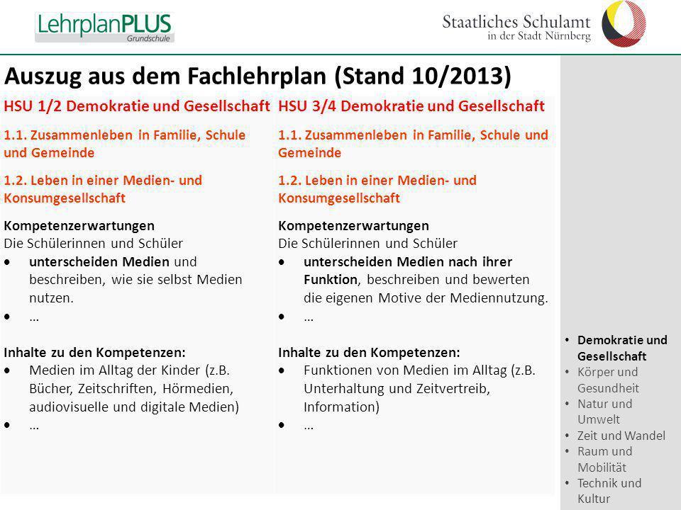 Auszug aus dem Fachlehrplan (Stand 10/2013)