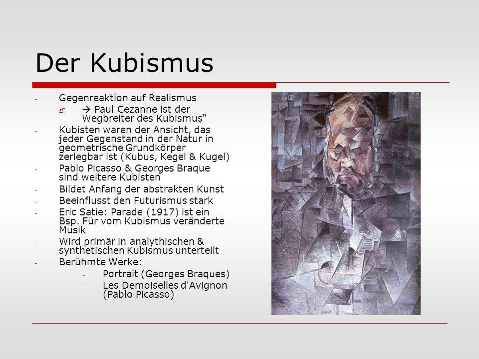 Der Kubismus Gegenreaktion auf Realismus