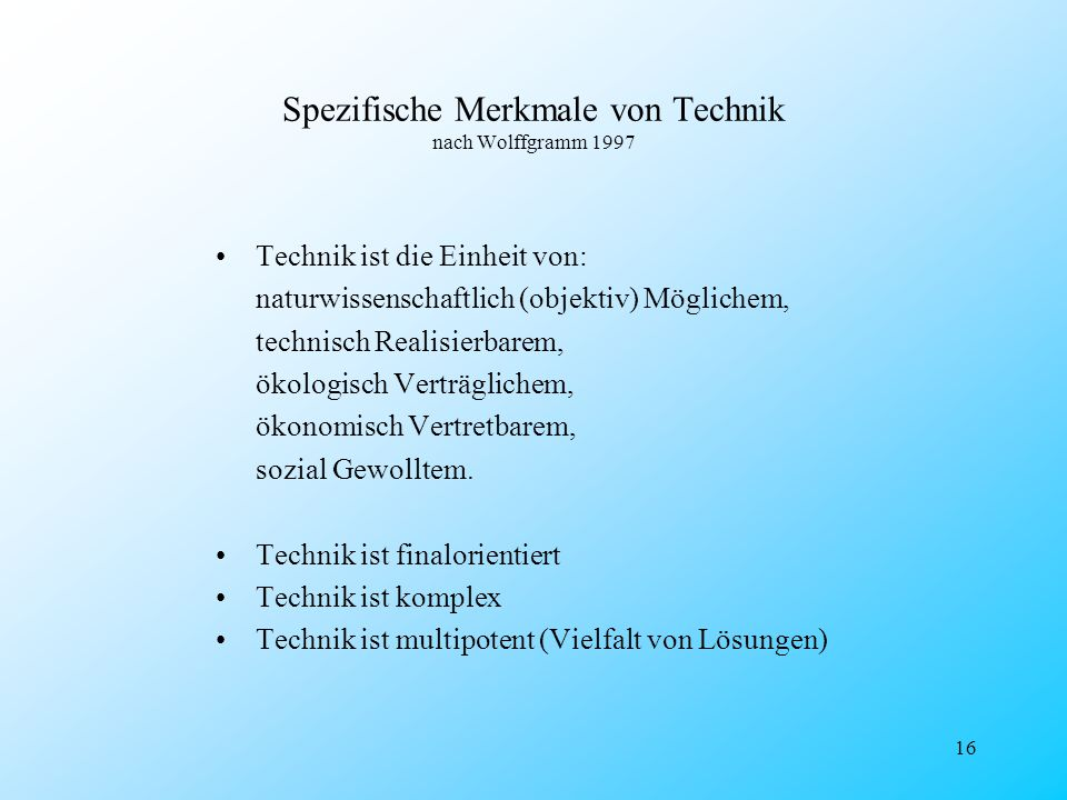 Spezifische Merkmale von Technik nach Wolffgramm 1997