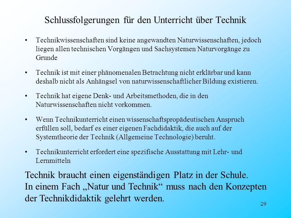 Schlussfolgerungen für den Unterricht über Technik