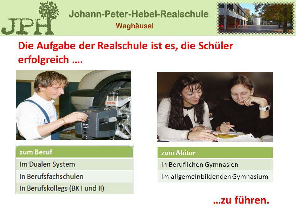 Die Aufgabe der Realschule ist es, die Schüler erfolgreich ….