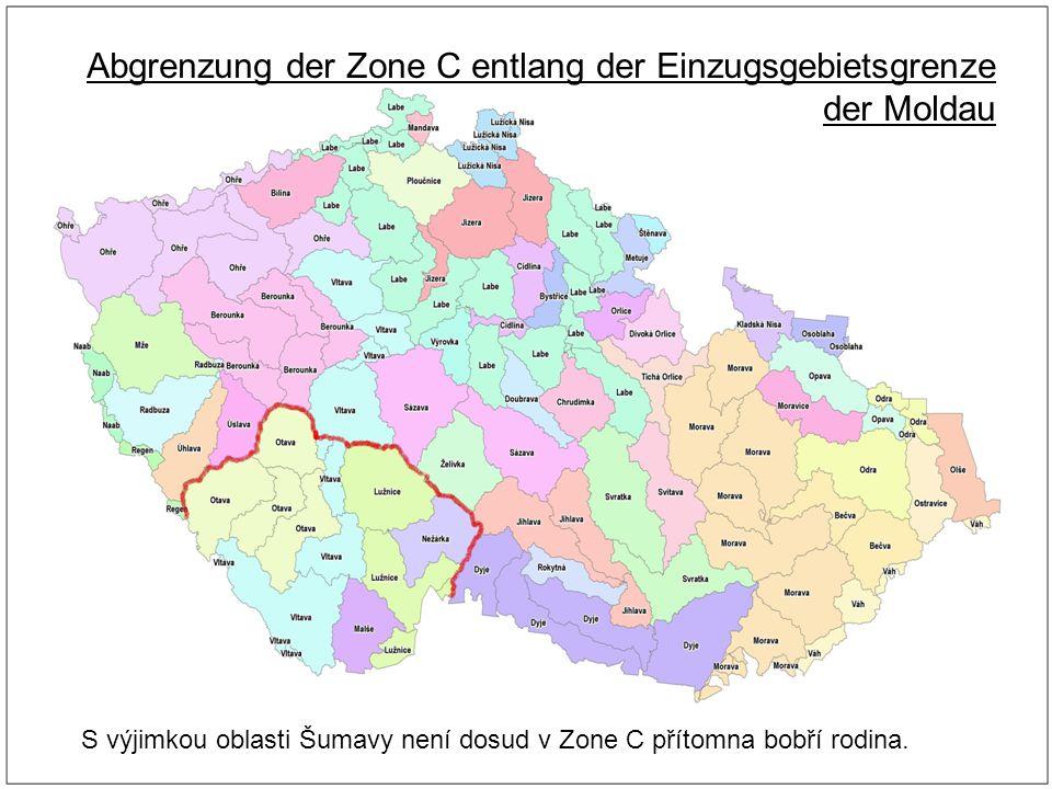 Abgrenzung der Zone C entlang der Einzugsgebietsgrenze der Moldau