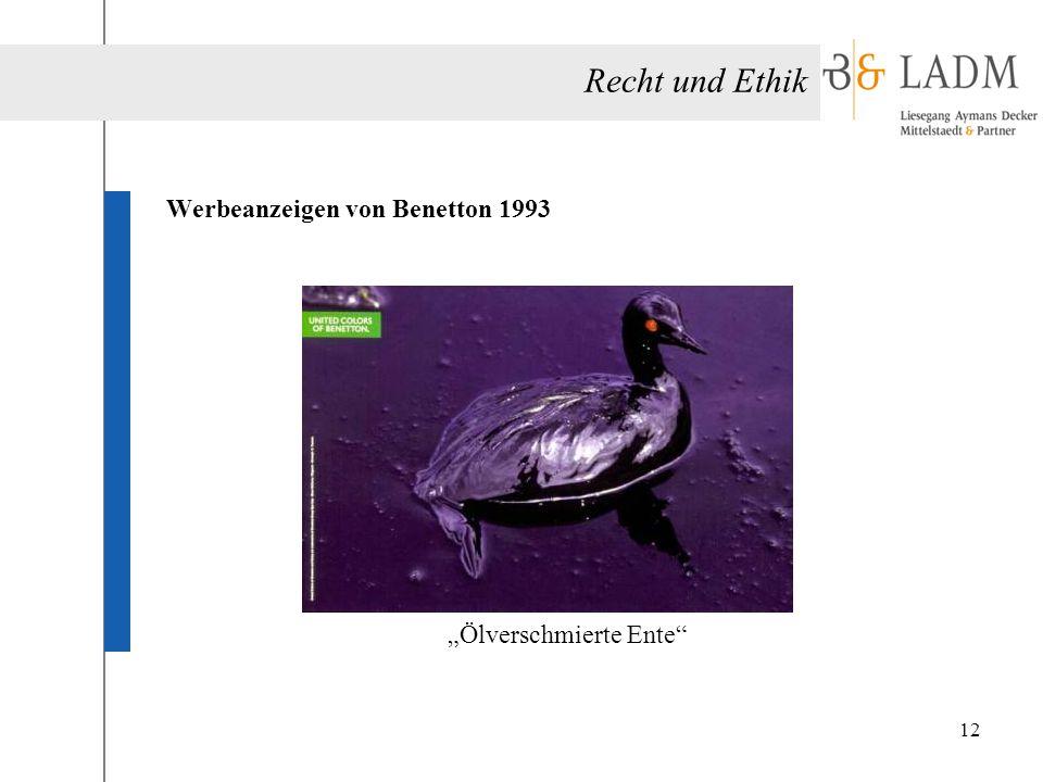 """Werbeanzeigen von Benetton 1993 """"Ölverschmierte Ente"""
