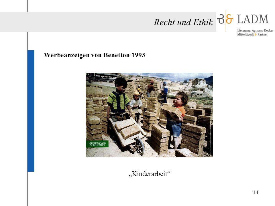 """Recht und Ethik Werbeanzeigen von Benetton 1993 """"Kinderarbeit"""