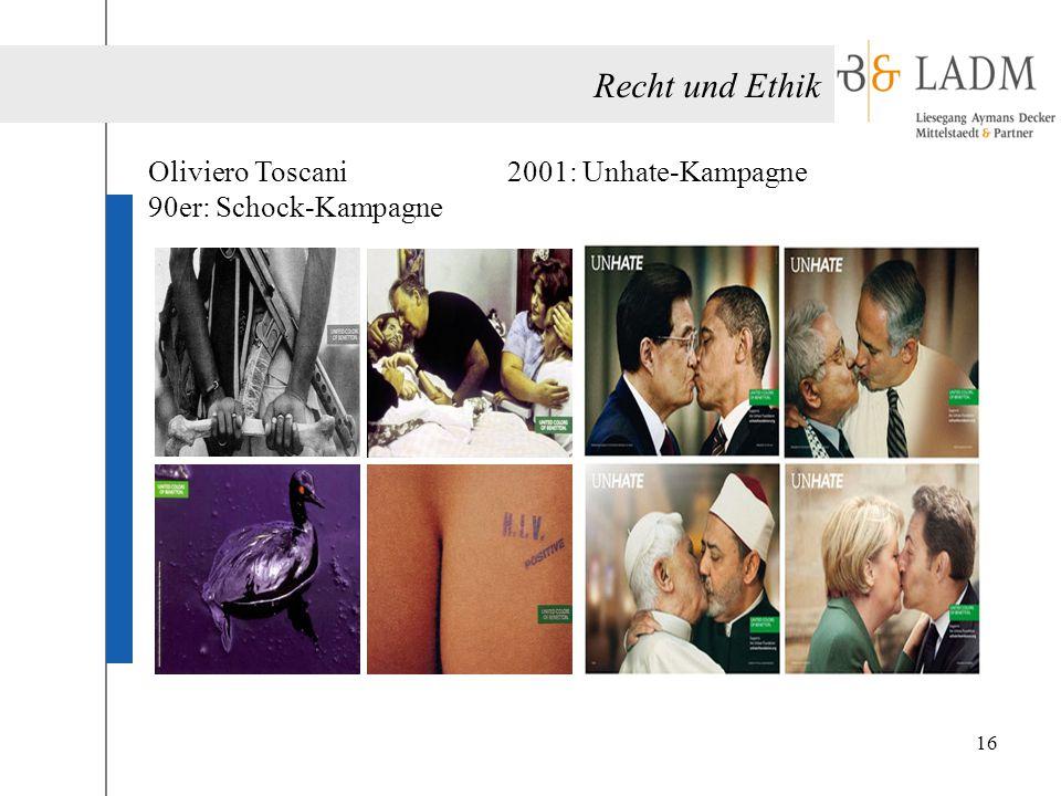 Recht und Ethik Oliviero Toscani 90er: Schock-Kampagne