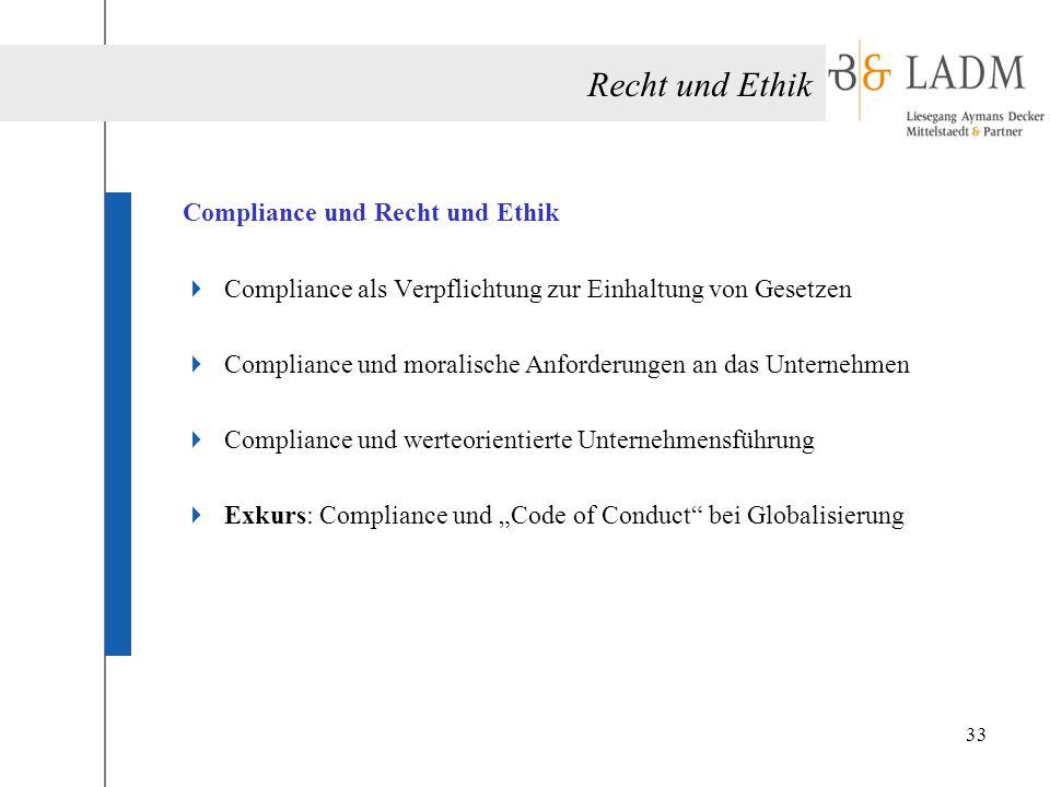 Recht und Ethik Compliance und Recht und Ethik