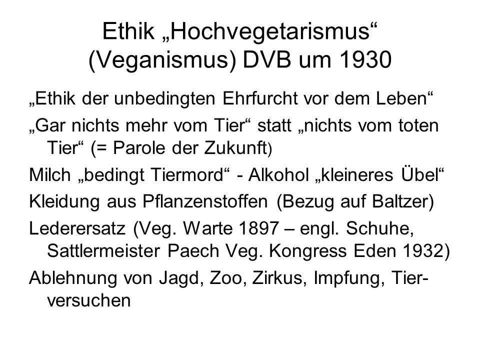 "Ethik ""Hochvegetarismus (Veganismus) DVB um 1930"