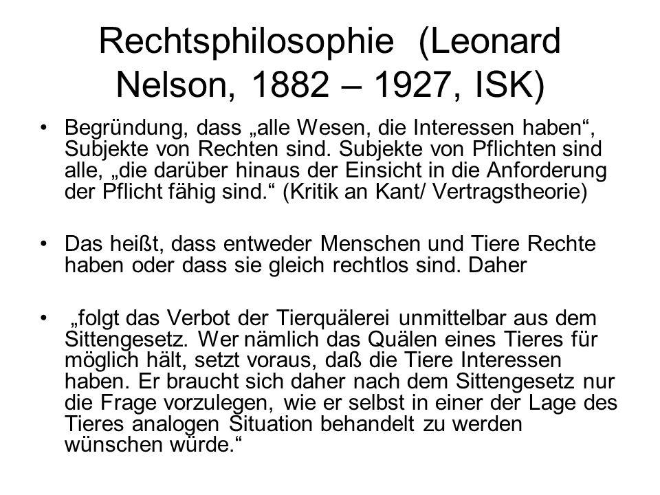 Rechtsphilosophie (Leonard Nelson, 1882 – 1927, ISK)