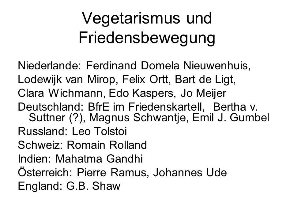 Vegetarismus und Friedensbewegung