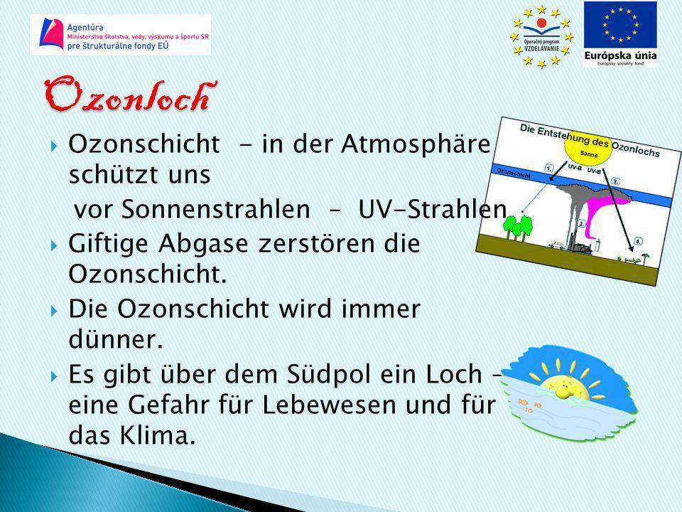 Ozonloch Ozonschicht - in der Atmosphäre schützt uns